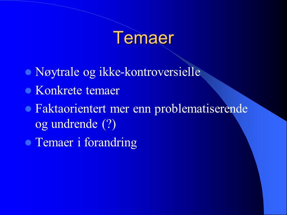 Temaer Nøytrale og ikke-kontroversielle Konkrete temaer