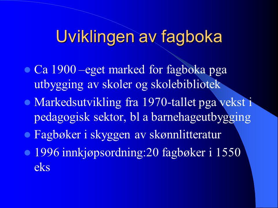 Uviklingen av fagboka Ca 1900 –eget marked for fagboka pga utbygging av skoler og skolebibliotek.