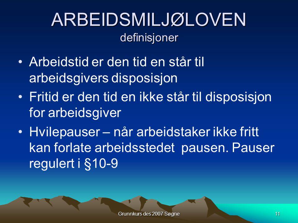 ARBEIDSMILJØLOVEN definisjoner