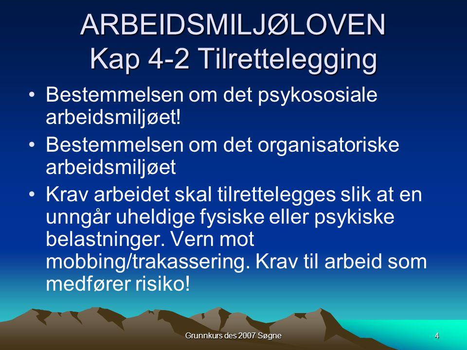 ARBEIDSMILJØLOVEN Kap 4-2 Tilrettelegging