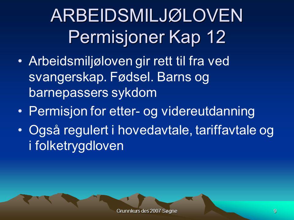 ARBEIDSMILJØLOVEN Permisjoner Kap 12