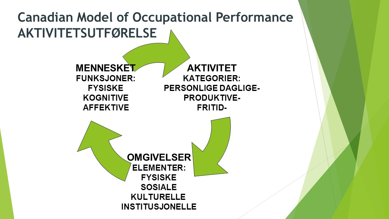 Canadian Model of Occupational Performance AKTIVITETSUTFØRELSE