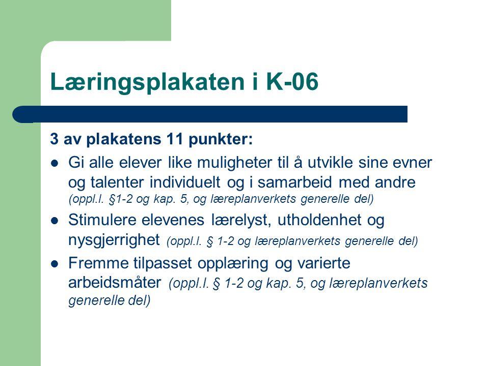 Læringsplakaten i K-06 3 av plakatens 11 punkter: