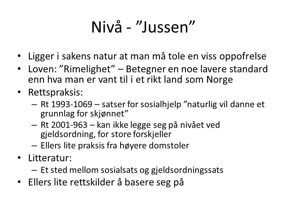 Nivå - Jussen Ligger i sakens natur at man må tole en viss oppofrelse.