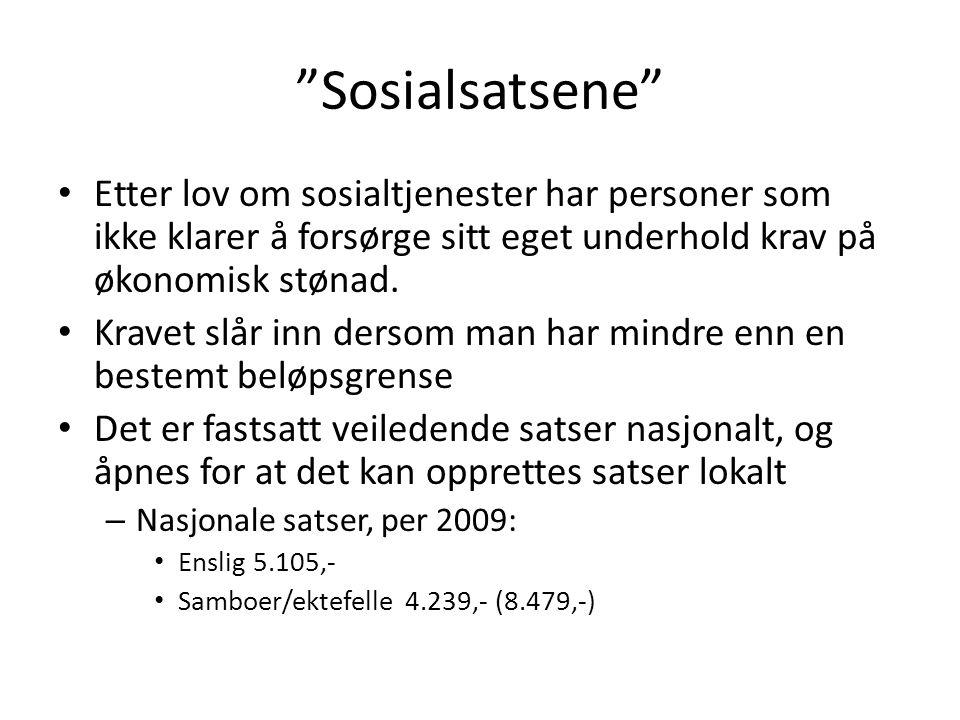 Sosialsatsene Etter lov om sosialtjenester har personer som ikke klarer å forsørge sitt eget underhold krav på økonomisk stønad.
