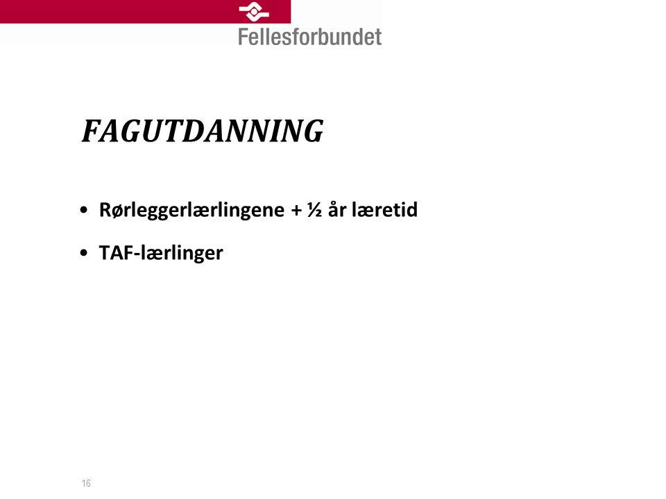 FAGUTDANNING Rørleggerlærlingene + ½ år læretid TAF-lærlinger