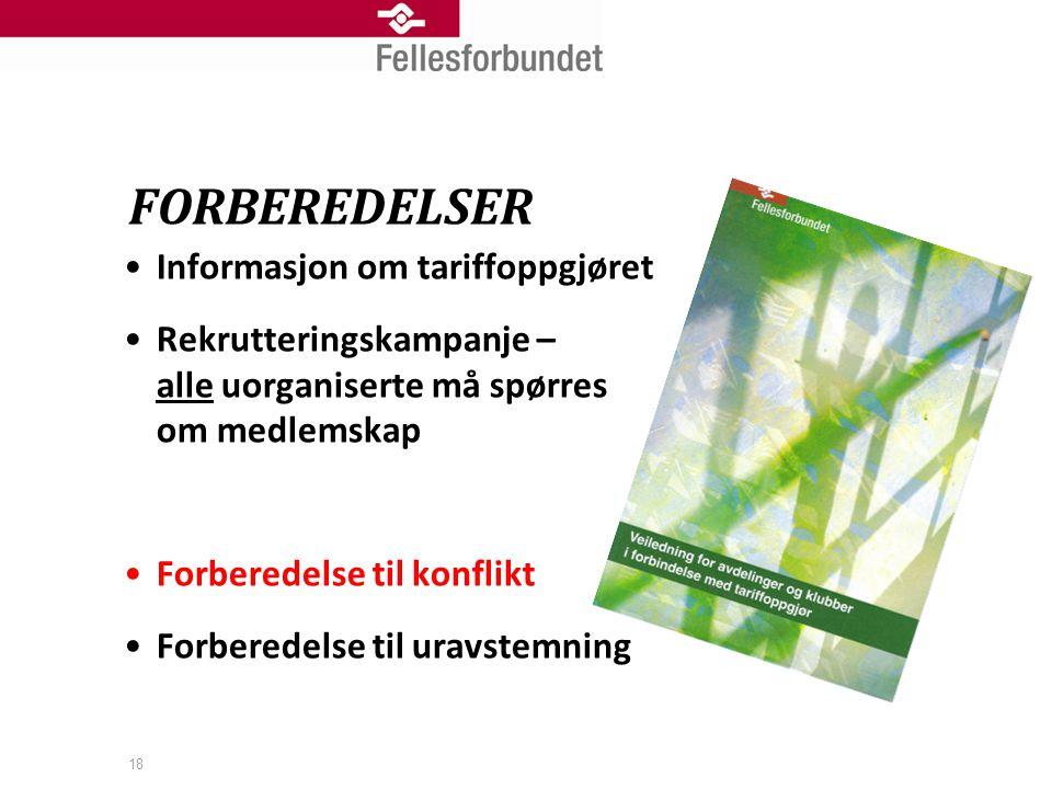 FORBEREDELSER Informasjon om tariffoppgjøret
