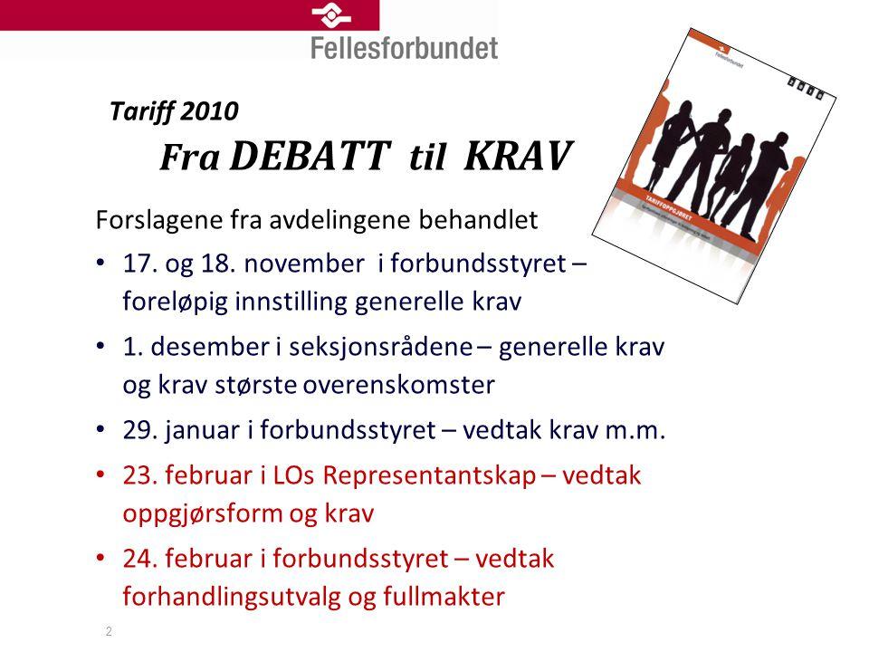 Tariff 2010 Fra DEBATT til KRAV