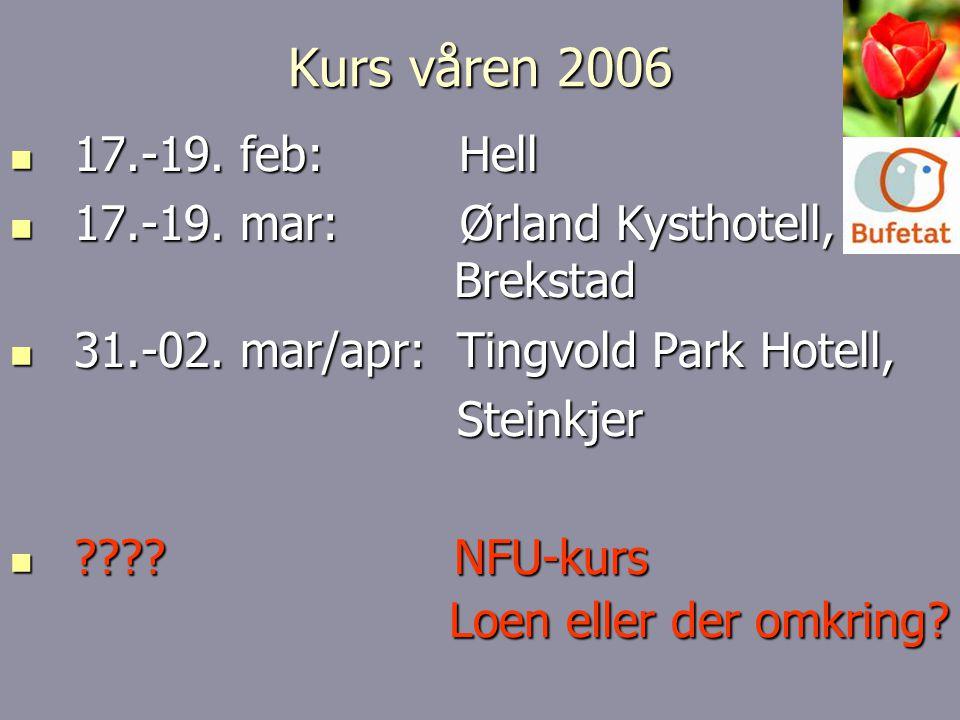 Kurs våren 2006 17.-19. feb: Hell. 17.-19. mar: Ørland Kysthotell, Brekstad.