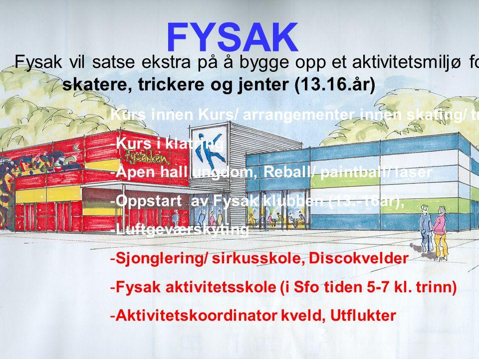 FYSAK Utfordringer. Fysak vil satse ekstra på å bygge opp et aktivitetsmiljø for: skatere, trickere og jenter (13.16.år)