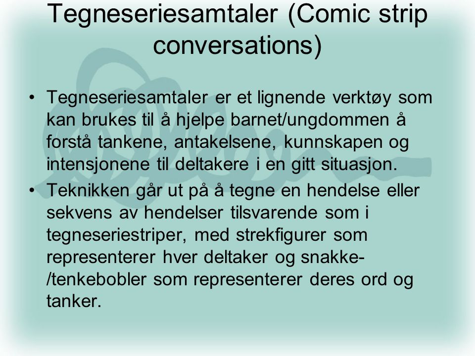 Tegneseriesamtaler (Comic strip conversations)