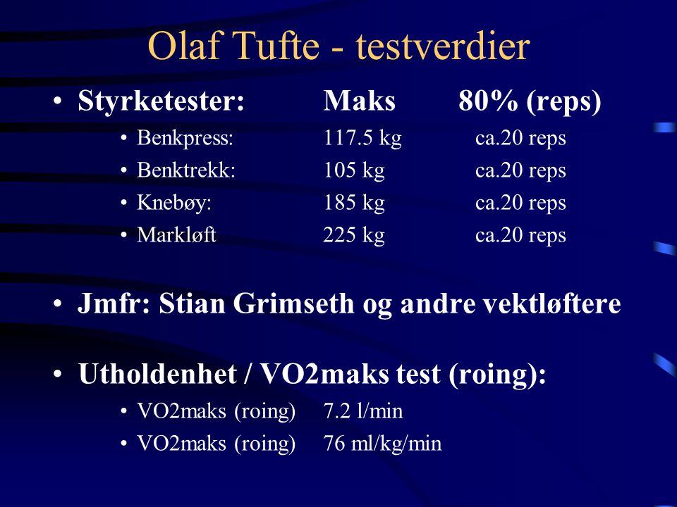 Olaf Tufte - testverdier