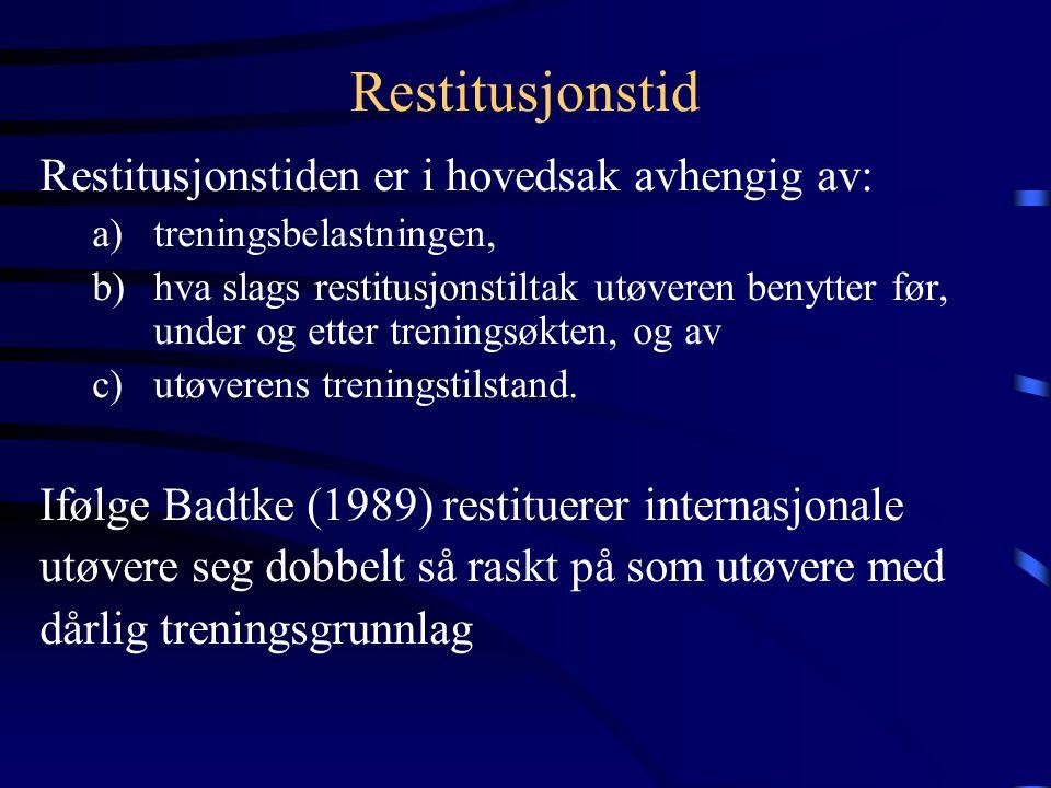 Restitusjonstid Restitusjonstiden er i hovedsak avhengig av: