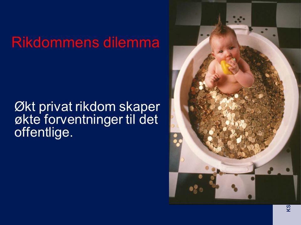 Rikdommens dilemma Økt privat rikdom skaper økte forventninger til det offentlige.