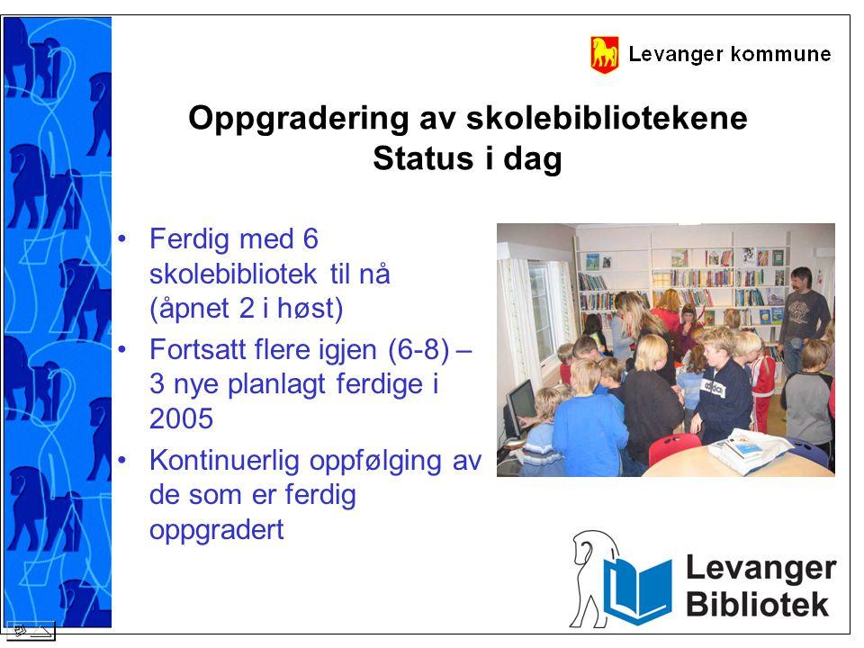Oppgradering av skolebibliotekene Status i dag