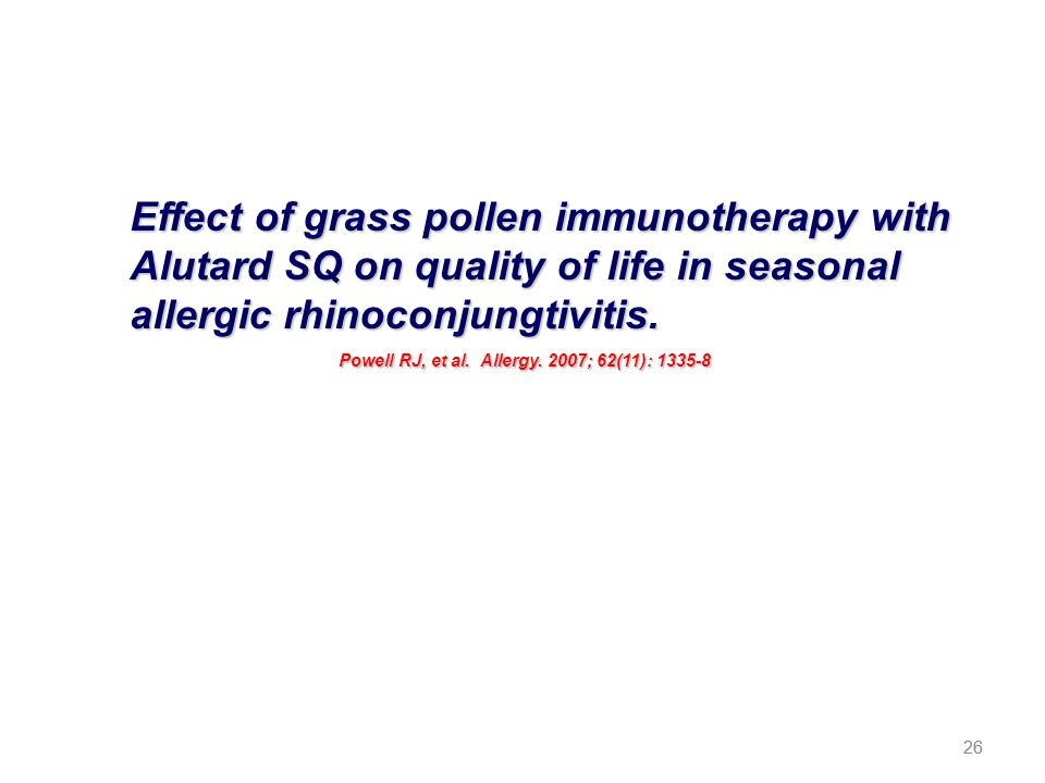 Effect of grass pollen immunotherapy with Alutard SQ on quality of life in seasonal allergic rhinoconjungtivitis.