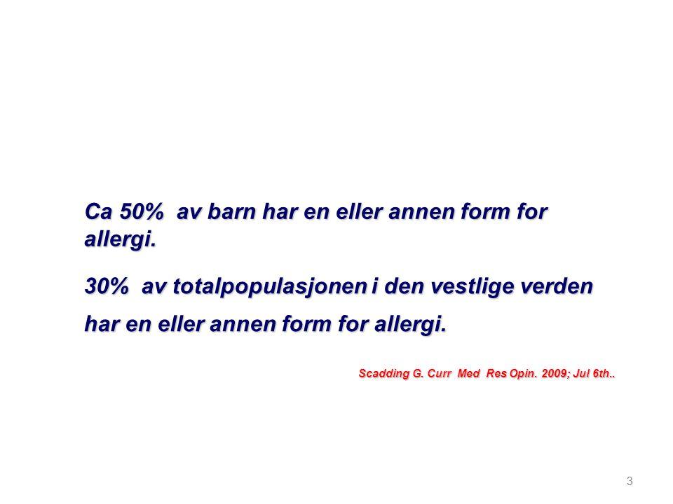 Ca 50% av barn har en eller annen form for allergi.