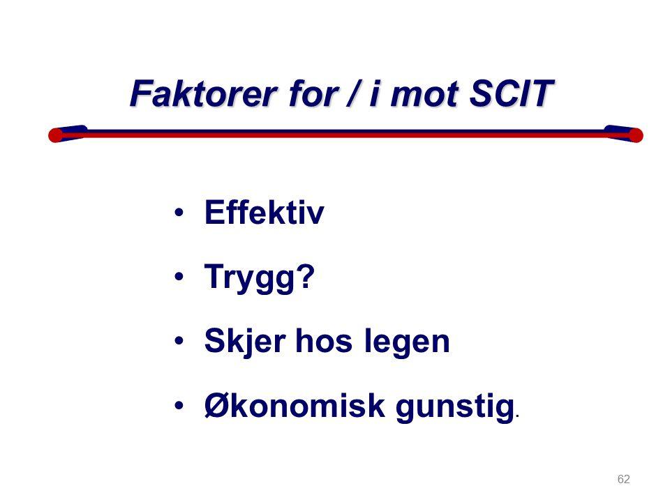 Faktorer for / i mot SCIT