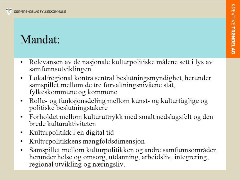 Mandat: Relevansen av de nasjonale kulturpolitiske målene sett i lys av samfunnsutviklingen.