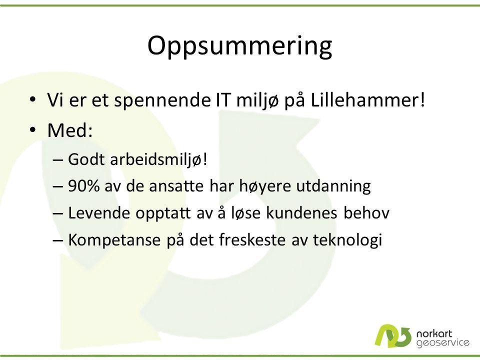 Oppsummering Vi er et spennende IT miljø på Lillehammer! Med: