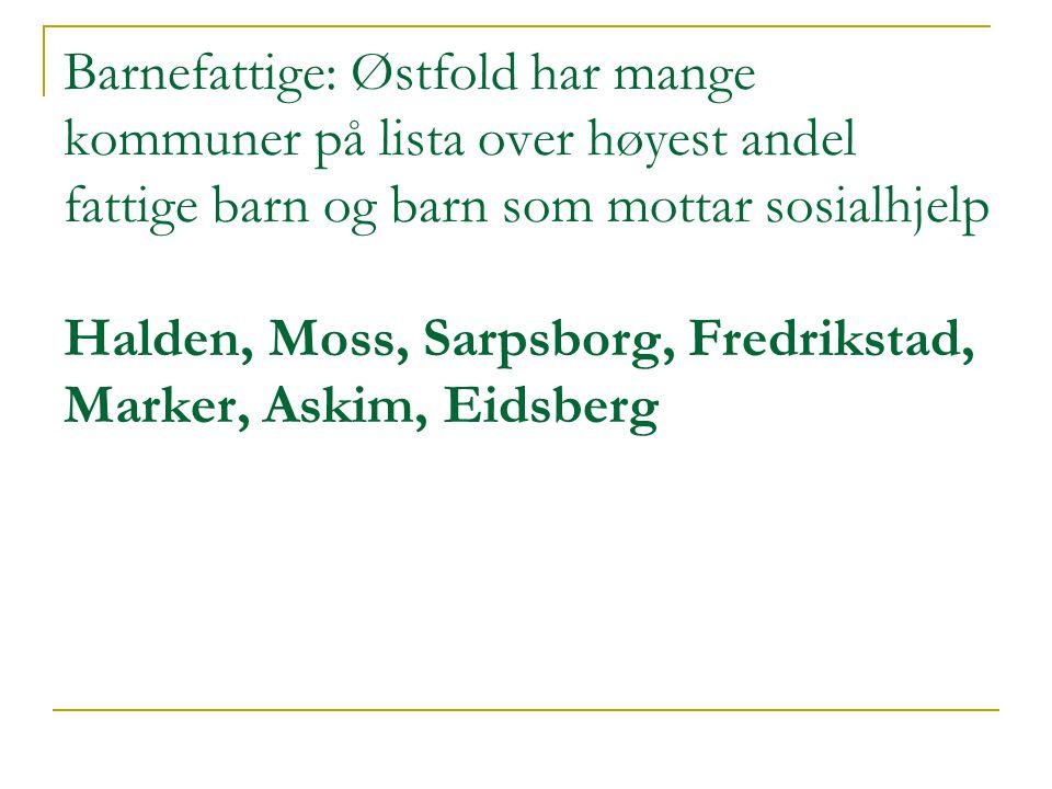Barnefattige: Østfold har mange kommuner på lista over høyest andel fattige barn og barn som mottar sosialhjelp Halden, Moss, Sarpsborg, Fredrikstad, Marker, Askim, Eidsberg