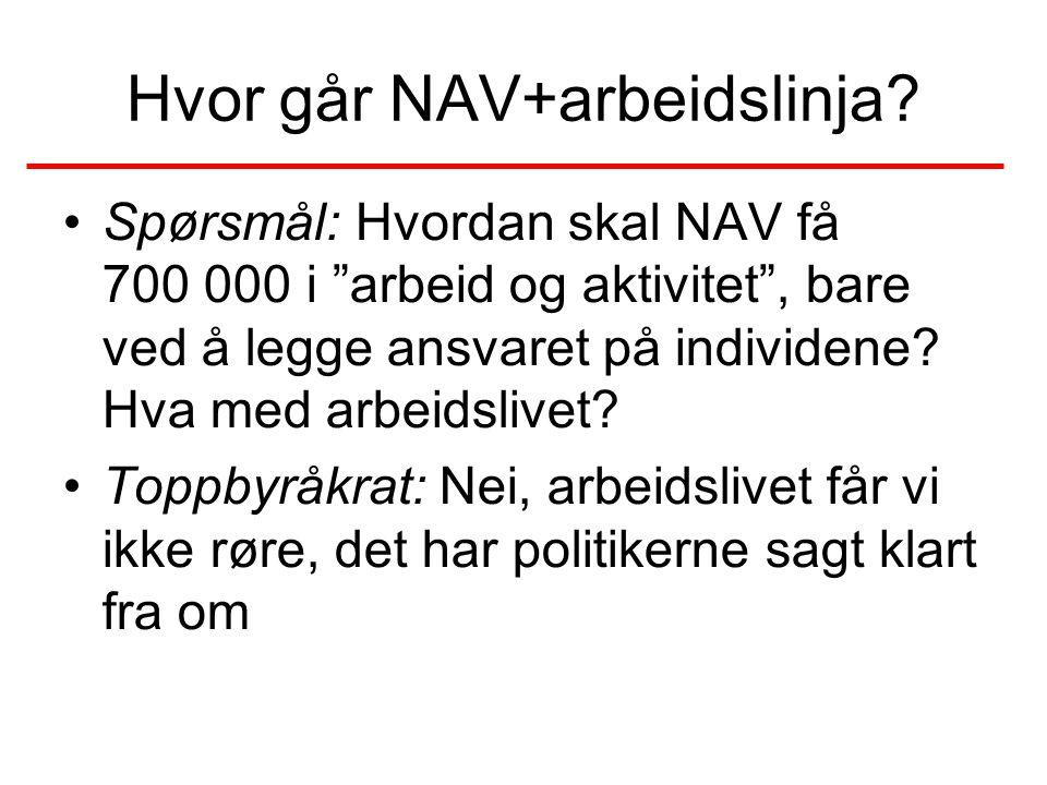 Hvor går NAV+arbeidslinja