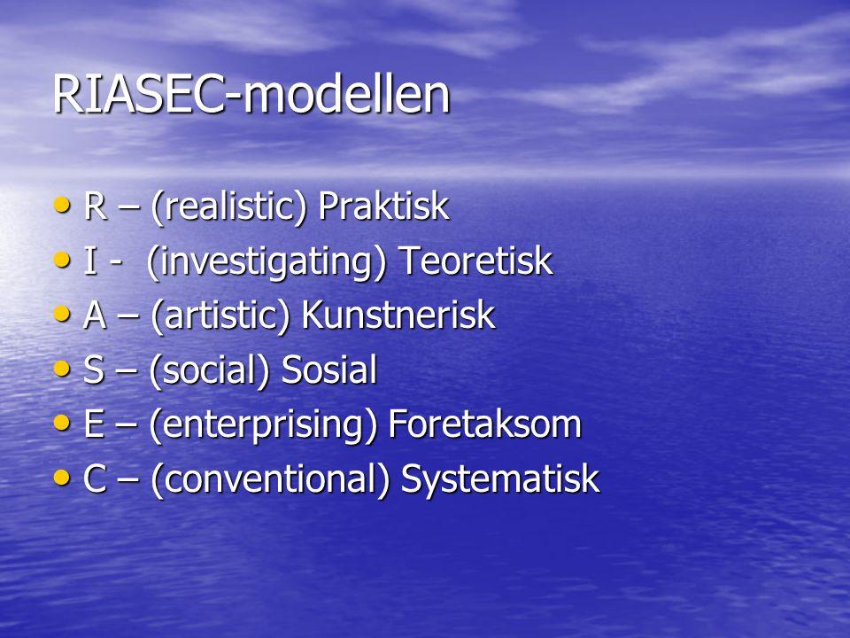 RIASEC-modellen R – (realistic) Praktisk I - (investigating) Teoretisk