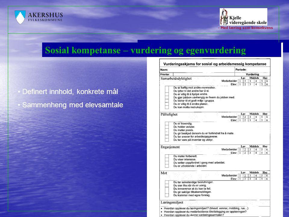 Sosial kompetanse – vurdering og egenvurdering