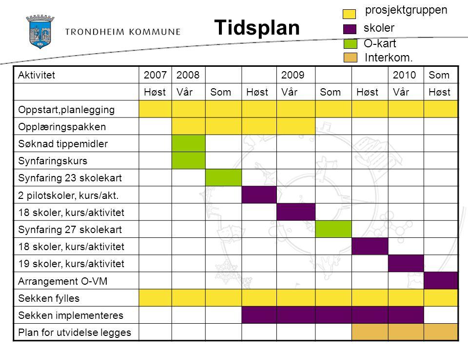 Tidsplan prosjektgruppen skoler O-kart Interkom. Aktivitet 2007 2008