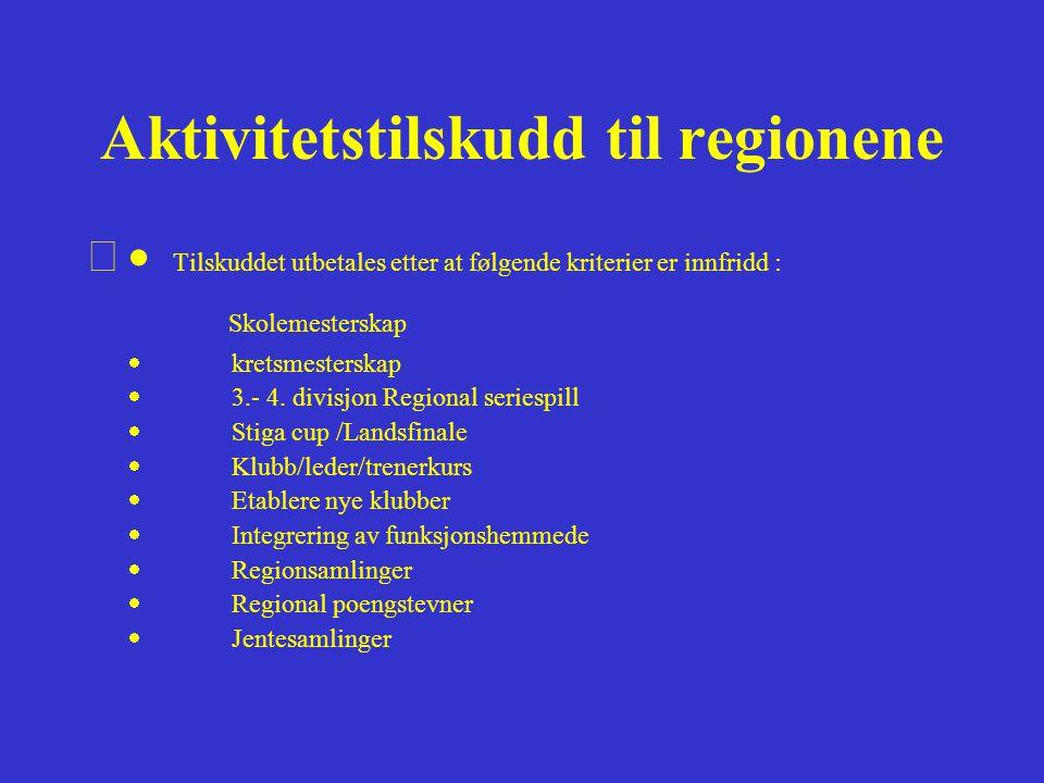 Aktivitetstilskudd til regionene