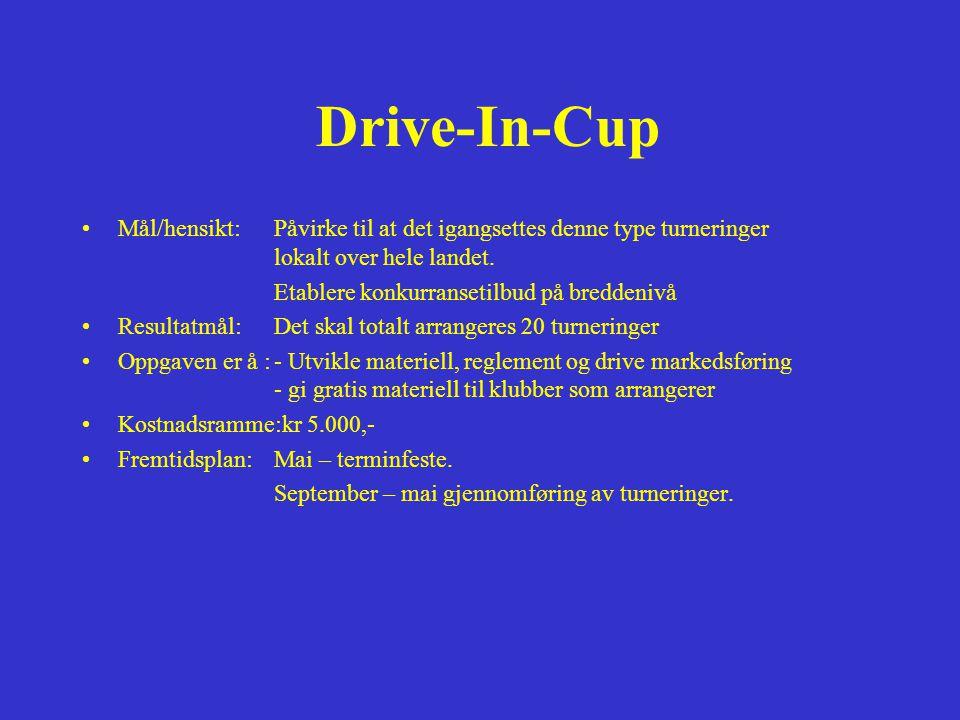 Drive-In-Cup Mål/hensikt: Påvirke til at det igangsettes denne type turneringer lokalt over hele landet.