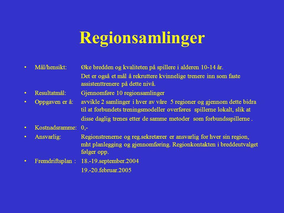 Regionsamlinger Mål/hensikt: Øke bredden og kvaliteten på spillere i alderen 10-14 år.