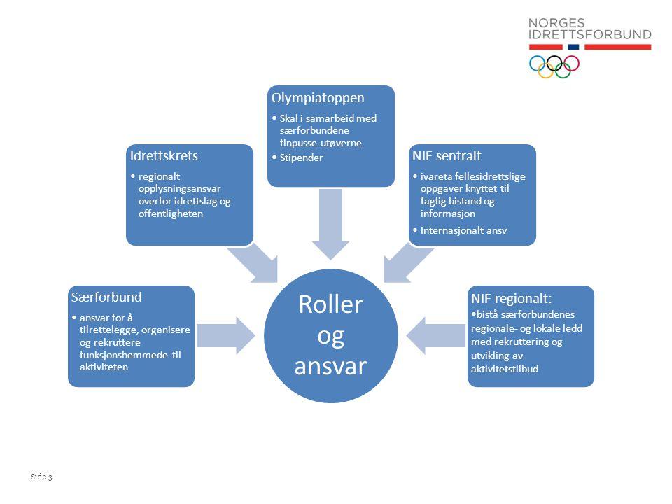 Roller og ansvar Særforbund. ansvar for å tilrettelegge, organisere og rekruttere funksjonshemmede til aktiviteten.
