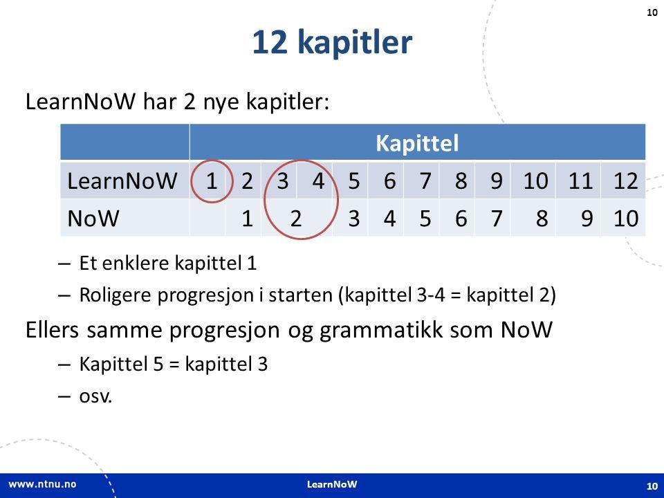 12 kapitler LearnNoW har 2 nye kapitler: