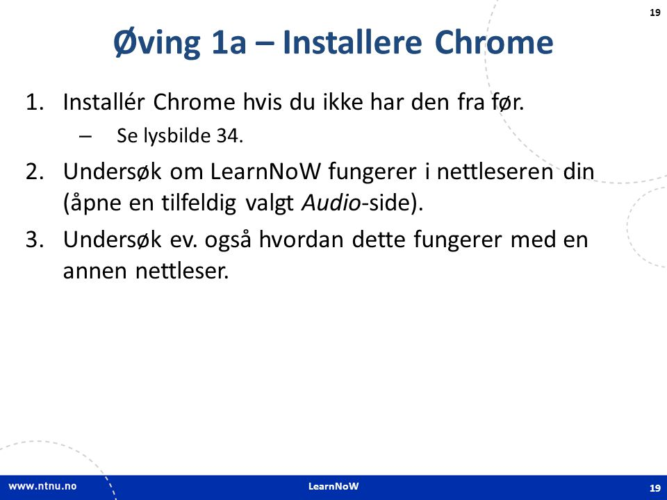 Øving 1a – Installere Chrome