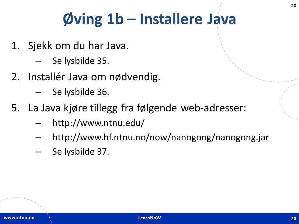 Øving 1b – Installere Java