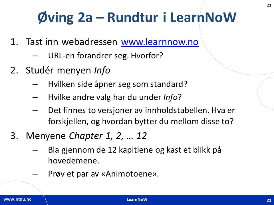 Øving 2a – Rundtur i LearnNoW