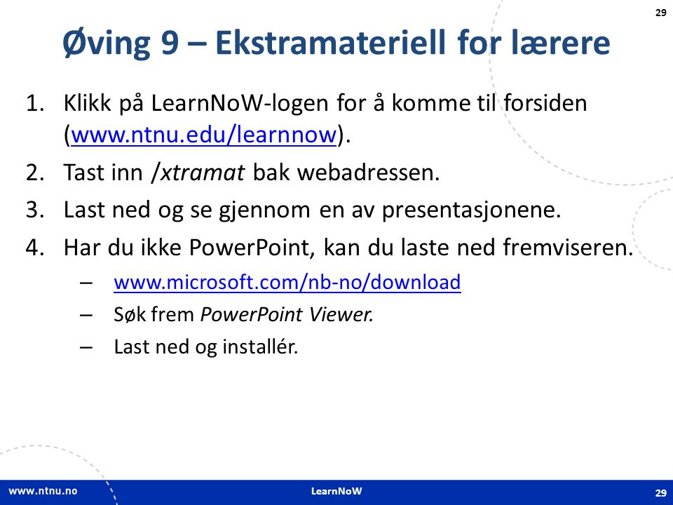 Øving 9 – Ekstramateriell for lærere