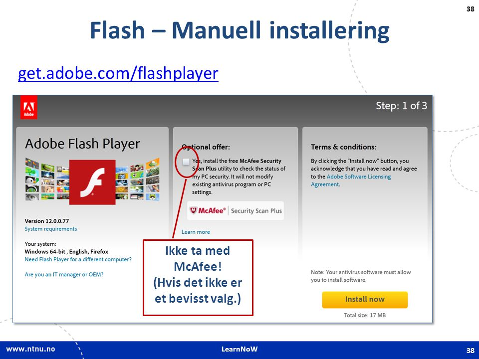 Flash – Manuell installering