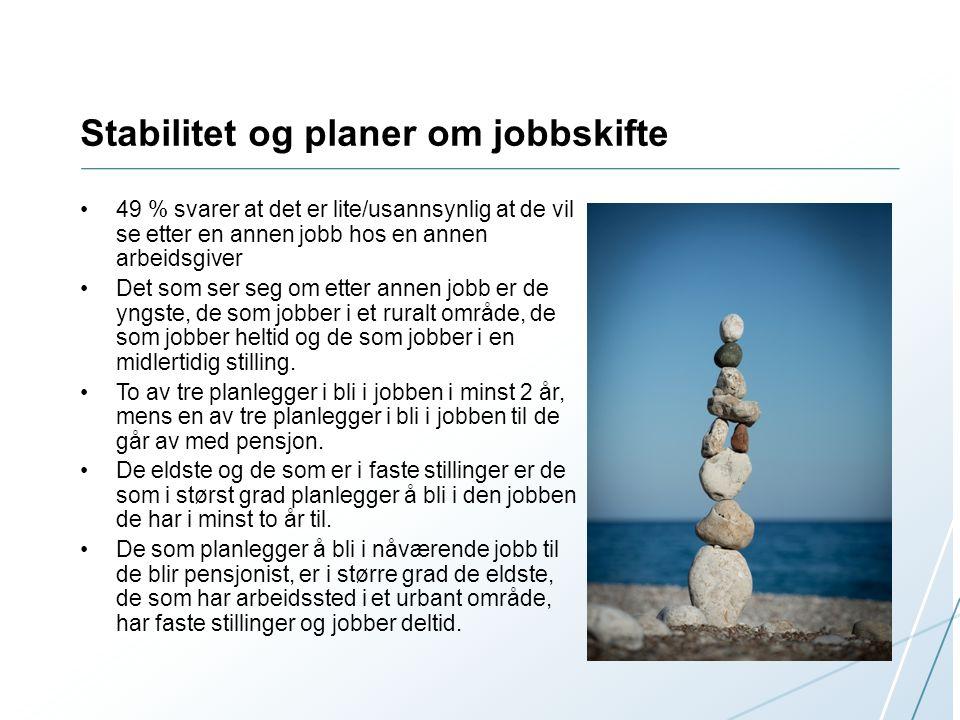 Stabilitet og planer om jobbskifte