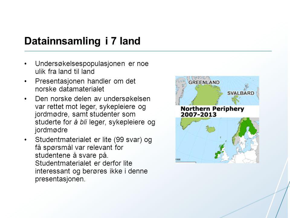 Datainnsamling i 7 land Undersøkelsespopulasjonen er noe ulik fra land til land. Presentasjonen handler om det norske datamaterialet.