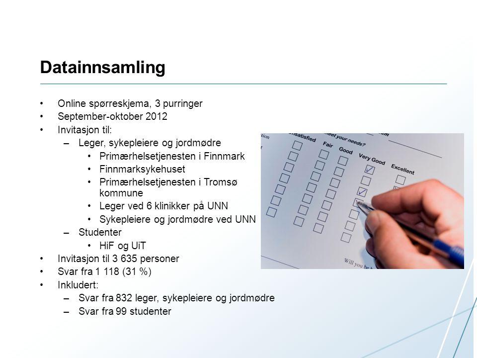 Datainnsamling Online spørreskjema, 3 purringer September-oktober 2012