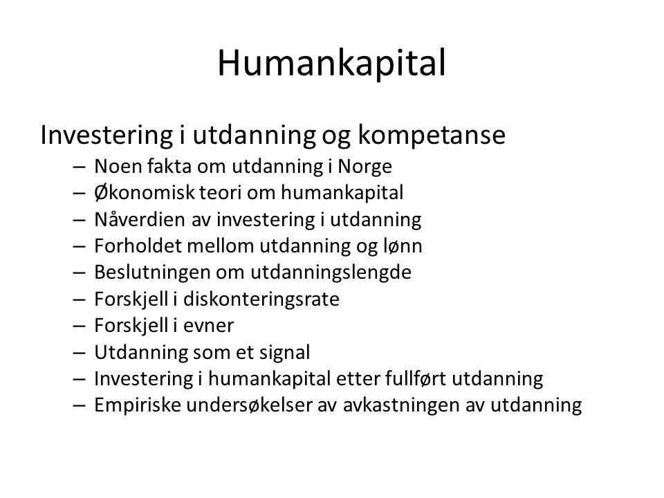 Humankapital Investering i utdanning og kompetanse