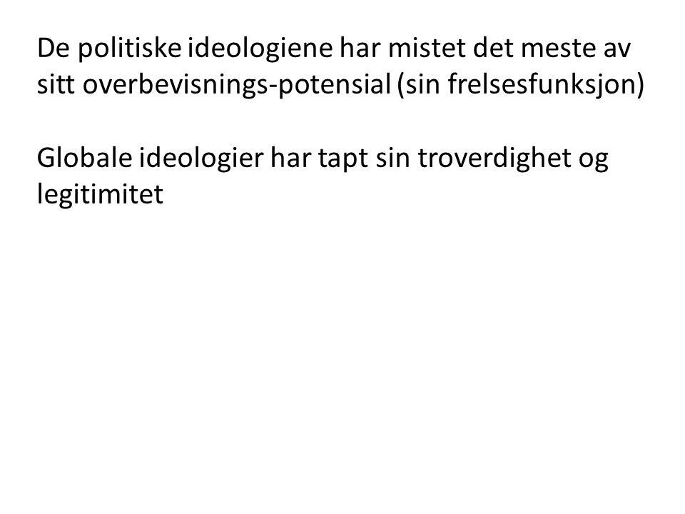 De politiske ideologiene har mistet det meste av sitt overbevisnings-potensial (sin frelsesfunksjon)