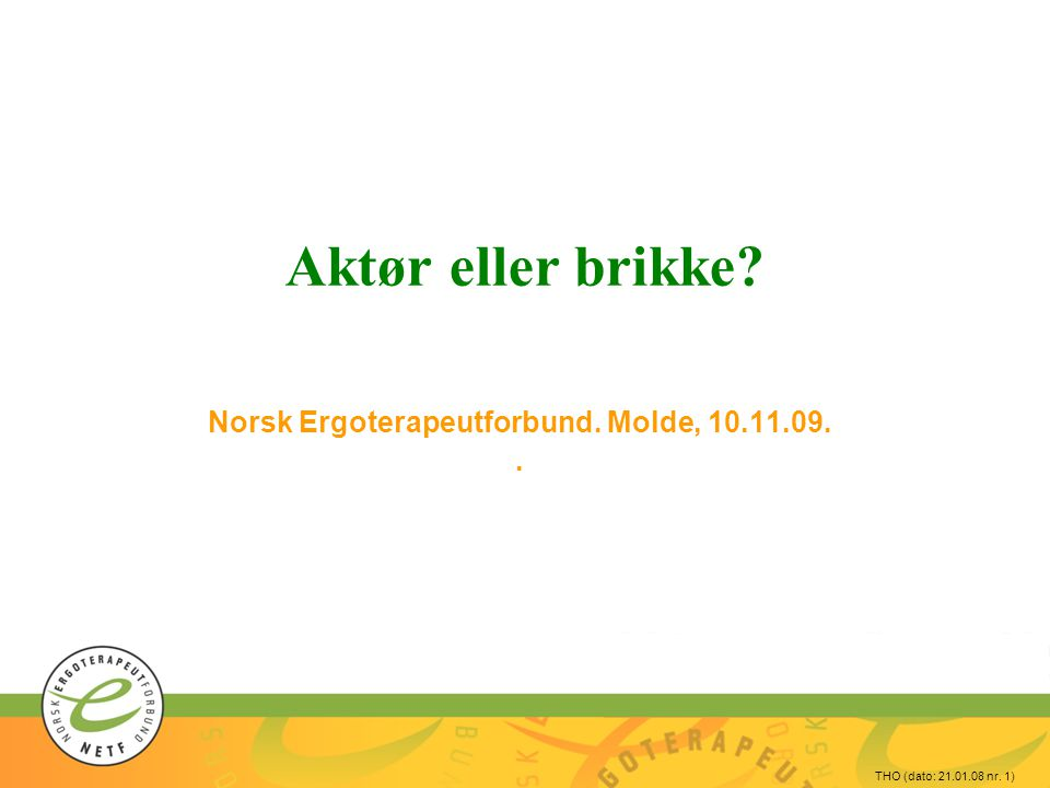 Norsk Ergoterapeutforbund. Molde, 10.11.09. .