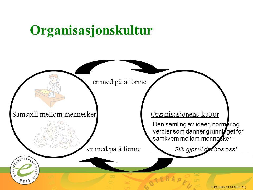 Organisasjonskultur Organisasjonens kultur Samspill mellom mennesker