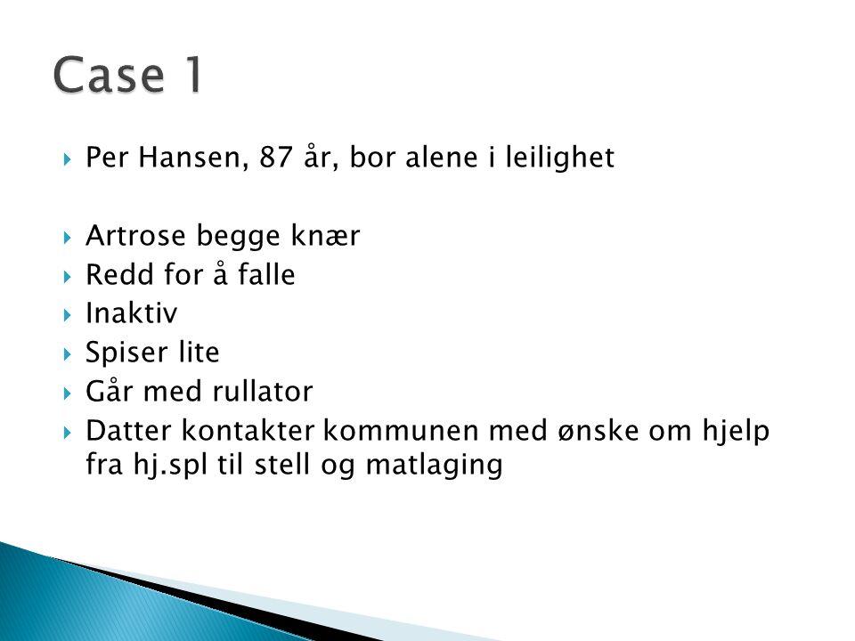 Case 1 Per Hansen, 87 år, bor alene i leilighet Artrose begge knær