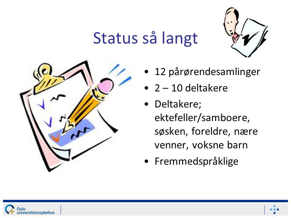 Status så langt 12 pårørendesamlinger 2 – 10 deltakere