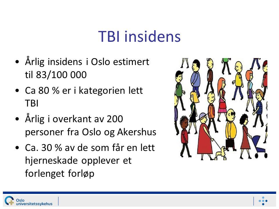 TBI insidens Årlig insidens i Oslo estimert til 83/100 000