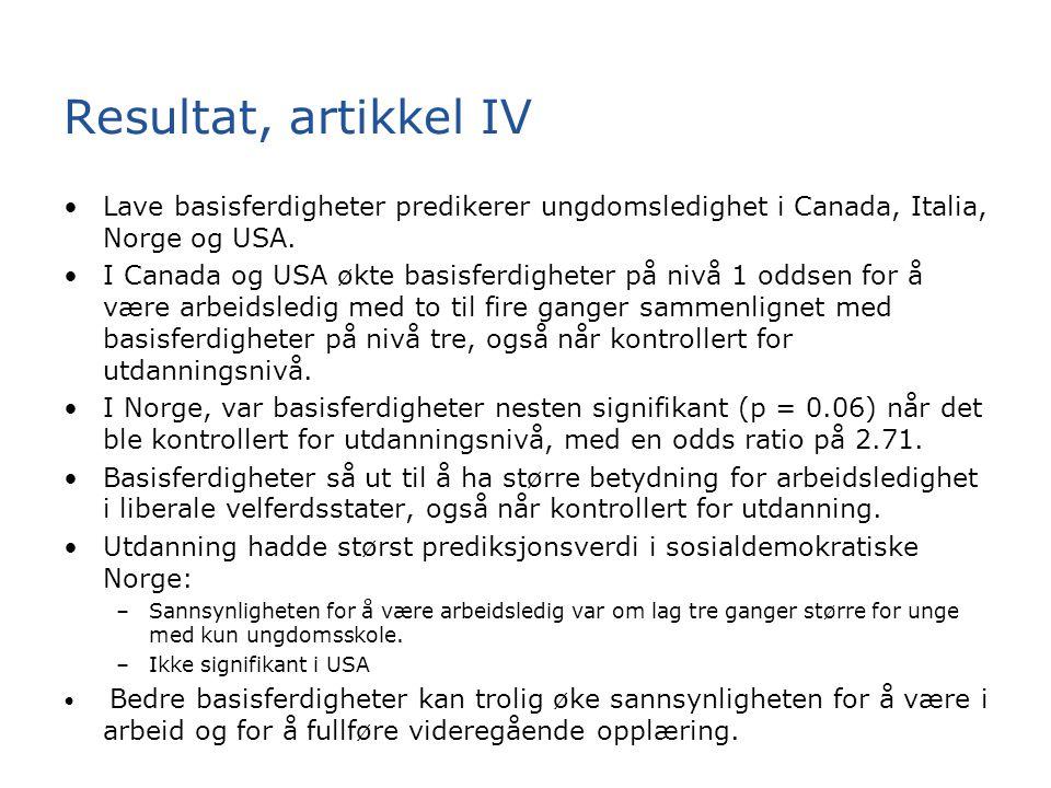 Resultat, artikkel IV Lave basisferdigheter predikerer ungdomsledighet i Canada, Italia, Norge og USA.